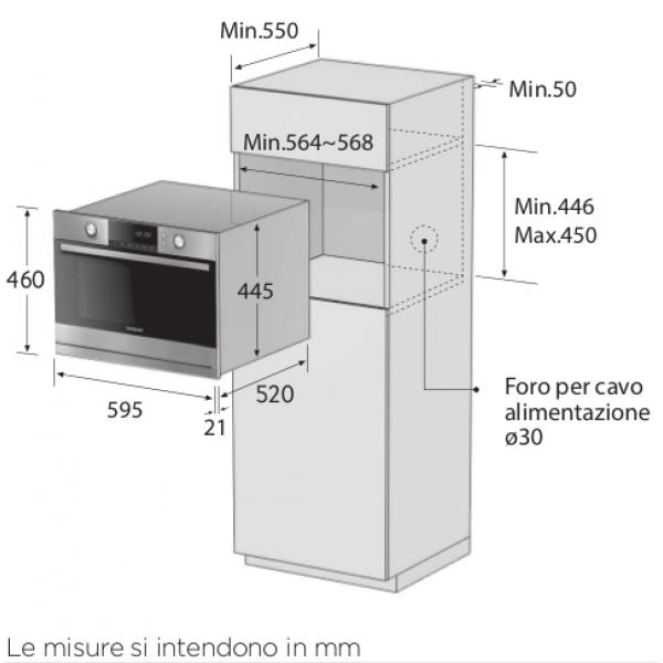 Samsung forno compatto speed oven multi cottura acciaio - Forno incasso 45 cm ...